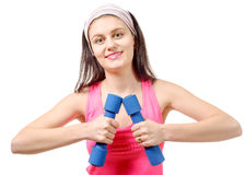 Portrait of pretty sporty girl holding weights isolated on white Royalty Free Stock Photo