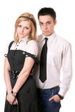 Portrait of pretty student pair. Isolated Stock Photography