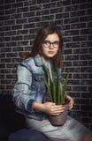 Portrait of pretty stylish teen girl Stock Photos