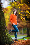 Portrait of pretty teen girl in autumn park Royalty Free Stock Photo