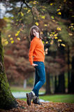 Portrait of pretty teen girl in autumn park Royalty Free Stock Image