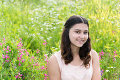 Portrait of Pretty teen girl outdoors in summer Stock Photography