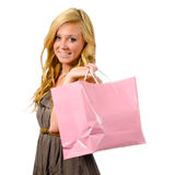Portrait of pretty teen girl with shopping bag Royalty Free Stock Photos