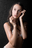 Portrait of pretty teen girl in water studio. Sensuality portrait of pretty teen girl in water studio Royalty Free Stock Photo