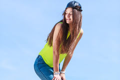 Portrait of pretty teenager girl outdoor. Royalty Free Stock Photos