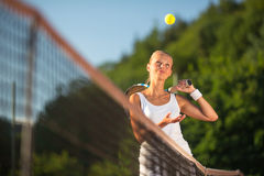 Portrait of a pretty  tennis player Royalty Free Stock Images