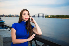 Portrait of pretty thoughtful brunette Royalty Free Stock Photos