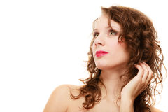 Portrait pretty thoughtful woman curly hair Royalty Free Stock Photography