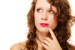 Portrait pretty thoughtful woman curly hair isolated Stock Images