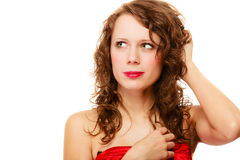 Portrait pretty thoughtful woman curly hair isolated Royalty Free Stock Photography