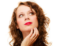 Portrait pretty thoughtful woman curly hair isolated Stock Photography