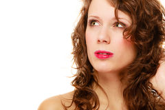 Portrait pretty thoughtful woman curly hair isolated Royalty Free Stock Images