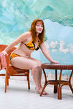 Portrait pretty woman in bathing suit Stock Photography