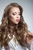 Portrait of a pretty woman with brown hair Royalty Free Stock Photo