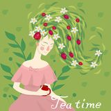 Portrait of a pretty woman drinking a cup of herbal tea vector image royalty free illustration