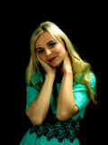 Portrait of pretty woman in green dress. Stock Image