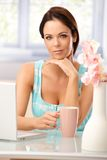 Portrait of pretty woman at home Royalty Free Stock Photography