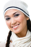 Portrait of pretty woman in knitted cap Royalty Free Stock Photography