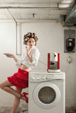 Portrait of pretty woman in laundry Stock Photo