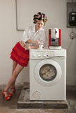 Portrait of pretty woman in laundry Royalty Free Stock Image