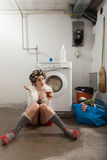 Portrait of pretty woman in laundry Royalty Free Stock Images