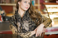 Portrait of pretty woman with long hairs Stock Photography