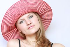 Portrait pretty woman in panama Royalty Free Stock Photography