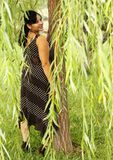 Portrait of Pretty Woman under Weeping Willow Royalty Free Stock Image