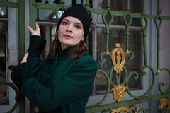 Portrait of a pretty woman in vintage autumn clothes. Portrait of a pretty woman with veil in vintage autumn clothes Stock Image