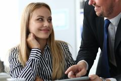 Cheerful lady in office stock image