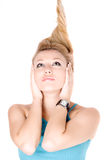 Portrait of pretty young blond girl Stock Images