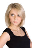 Portrait of pretty young blond woman. Isolated Stock Photography