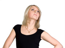 Portrait of pretty young blond woman. Isolated Royalty Free Stock Photos