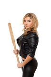 Portrait of pretty young blonde with a bat Stock Photography