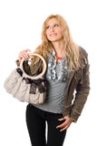 Portrait of pretty young blonde with a handbag Stock Images