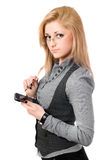 Portrait of pretty young blonde with smartphone Stock Images