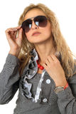 Portrait of pretty young blonde in sunglasses Stock Photo