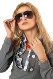 Portrait of pretty young blonde in sunglasses Stock Photo
