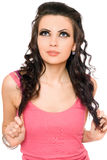 Portrait of pretty young brunette. Isolated Royalty Free Stock Image
