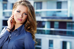 Portrait of pretty young business woman royalty free stock image
