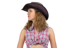 Portrait of pretty young cowgirl Royalty Free Stock Photos
