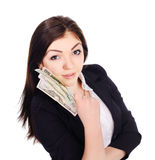 Portrait of pretty young female with cash in hand Stock Images