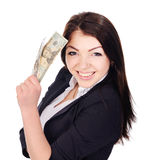 Portrait of pretty young female with cash in hand Royalty Free Stock Images