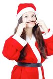 Portrait of pretty young girl dressed as Santa Stock Images