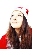 Portrait of a pretty young girl dressed as Santa Royalty Free Stock Images
