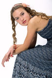 Portrait of a pretty young girl with long hair. Portrait of a pretty young girl with clean skin. Girl with long curly hairs Royalty Free Stock Photos