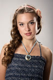 Portrait of a pretty young girl with long hair. Portrait of a pretty young girl with long ringlets hair. Tint image Royalty Free Stock Images