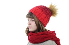 Girl in hat and scarf Royalty Free Stock Photo