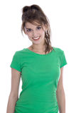 Portrait of a pretty young girl smiling in green shirt. Royalty Free Stock Photography