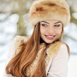 Portrait of pretty young girl in winter Stock Images